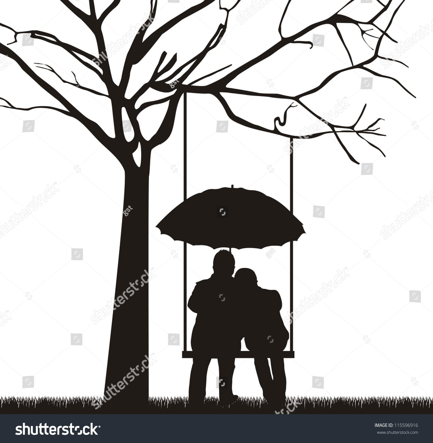 Couple Under Tree Umbrella White Background Stock Vector 115596916 - Shutterstock