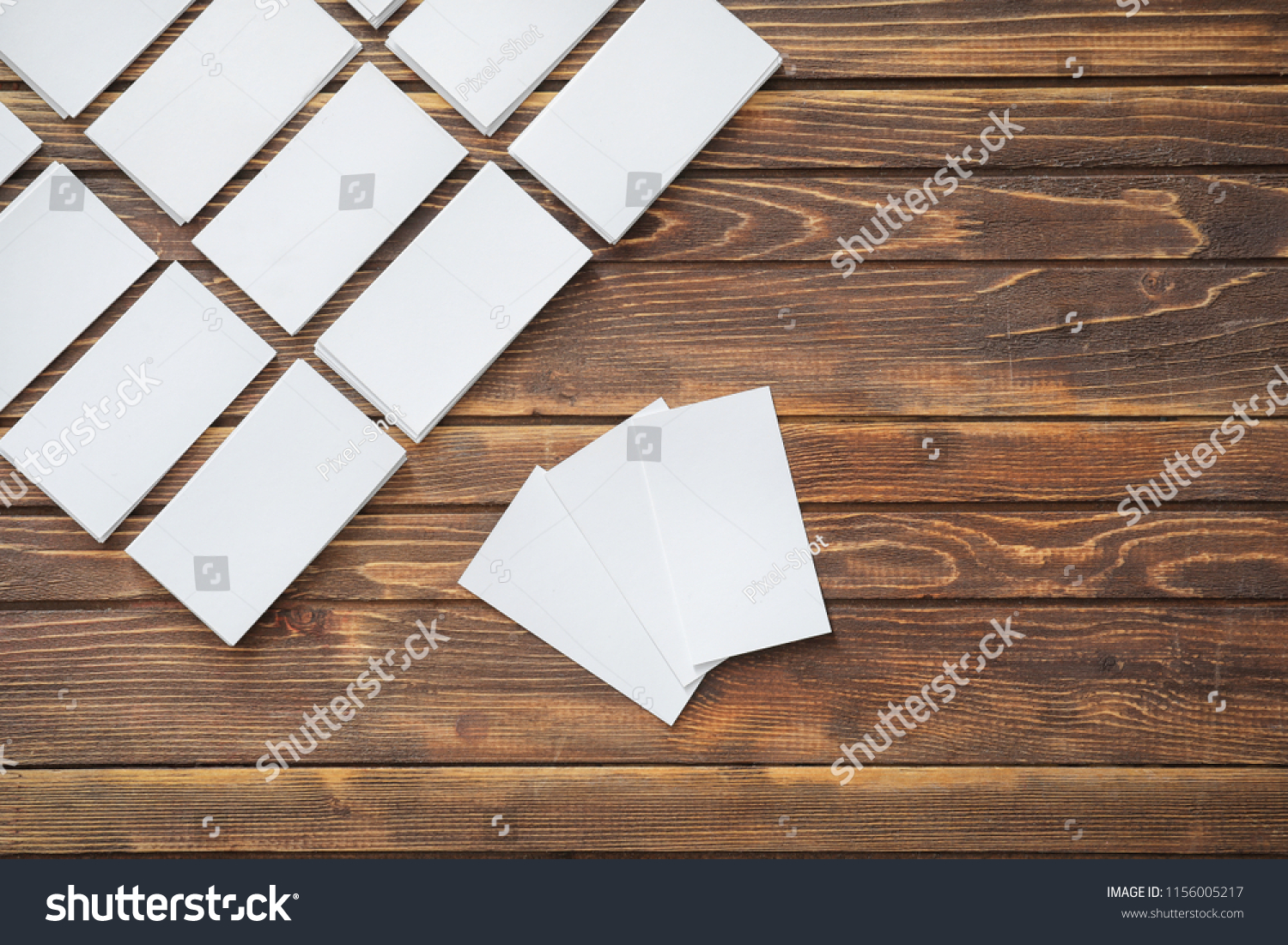 Blank Business Cards On Wooden Background Stock Photo Edit Now ...