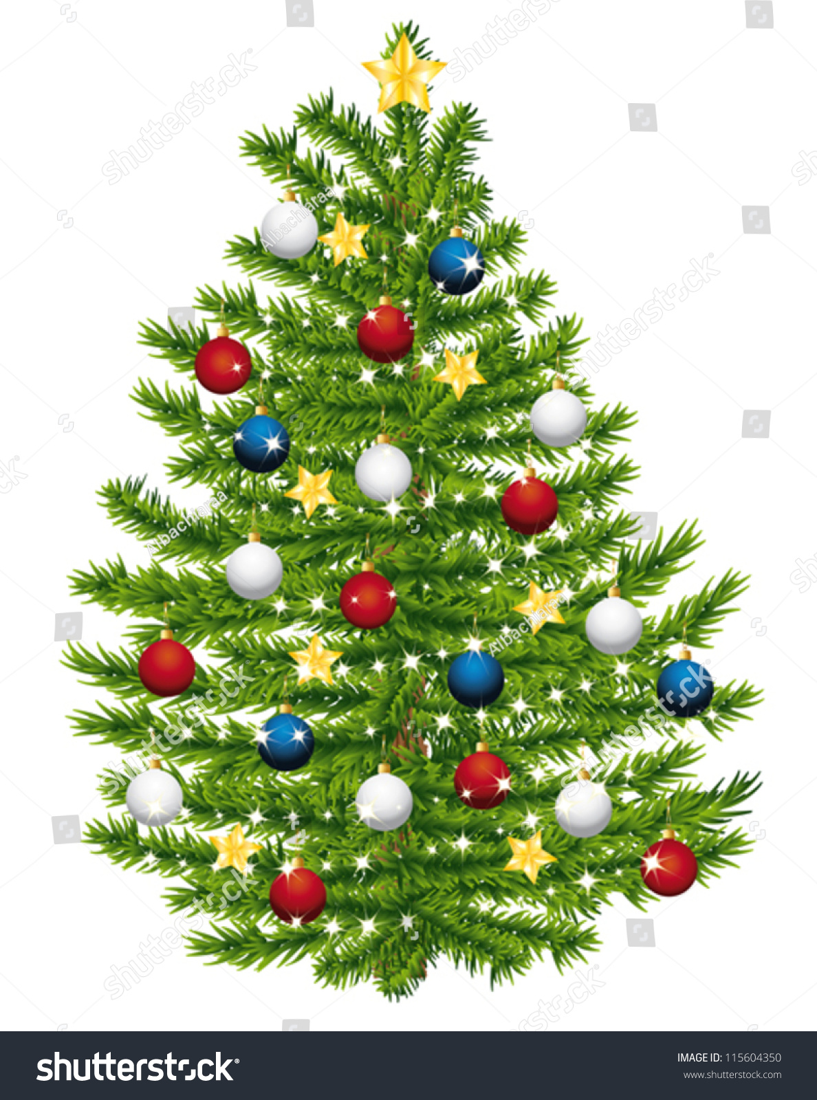 Red white and blue christmas ornaments - Christmas Tree Decorated With Red White And Blue Ornaments Vector Illustration 115604350 Shutterstock
