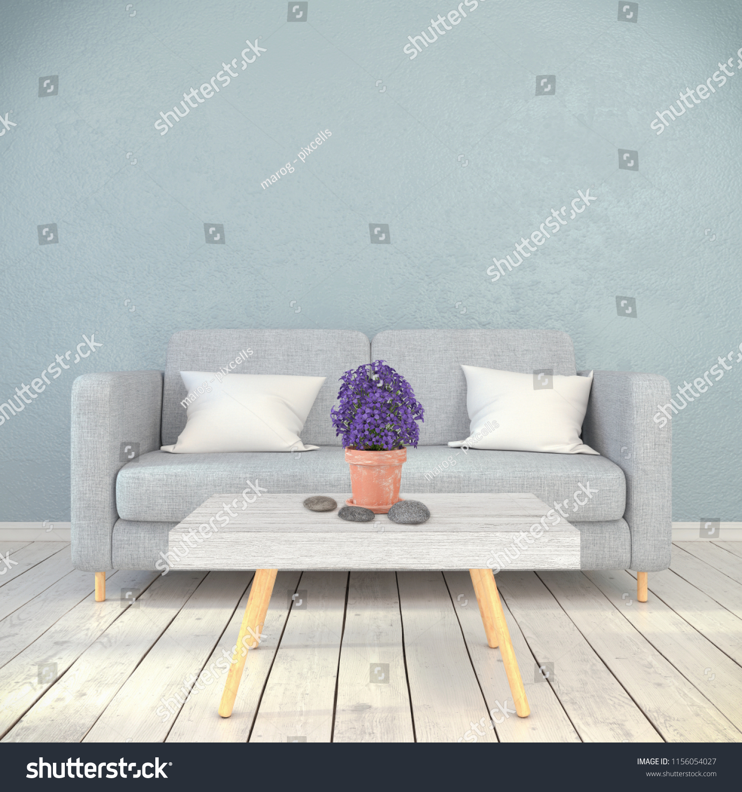 3 D Render Interior Scandinavian Living Room Stock Illustration