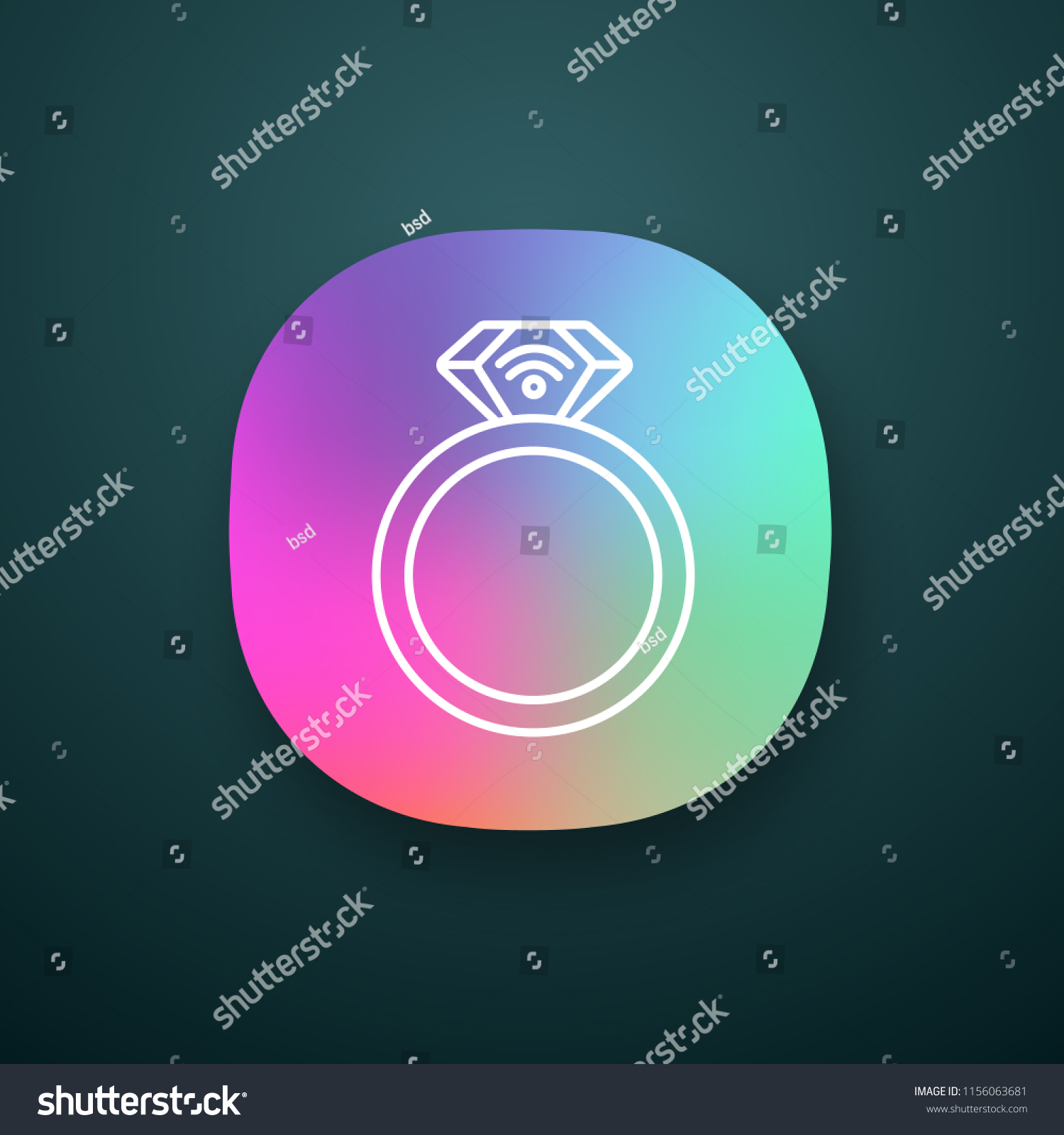 Nfc Ring App Icon Near Field Stock Vector (Royalty Free) 1156063681