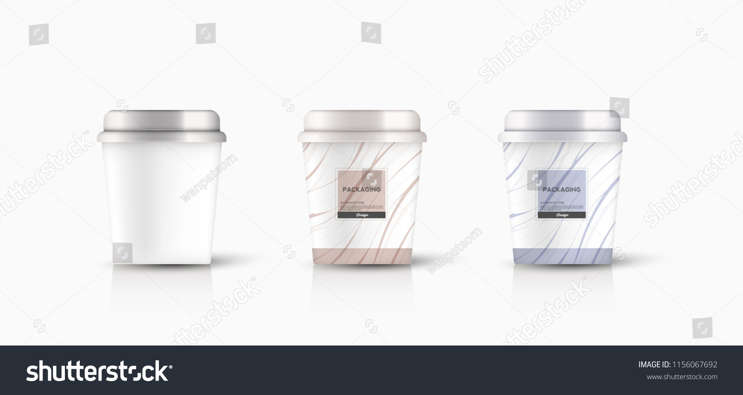 Packaging Template Round Bucket Cylinder Container Stock Vector