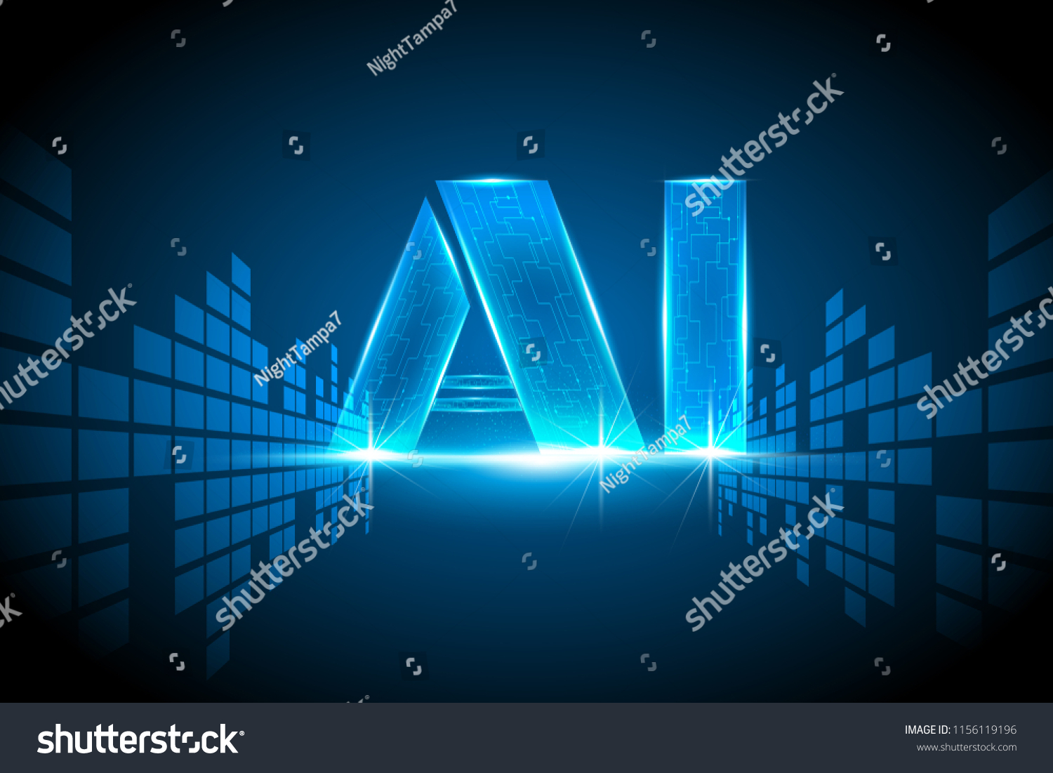 Ai Digital Artificial Intelligence Data Transformation Stock Vector Circuits Circuitsymbols Jpg 646 Electrical And Conceptvector Illustration