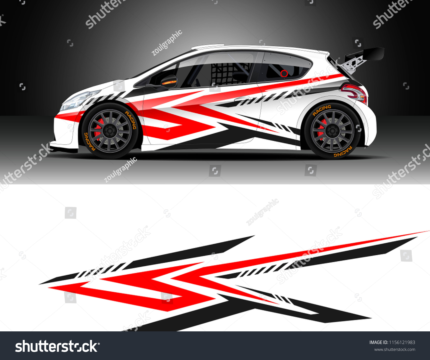 Car decal design vector graphic abstract stripe racing background designs for vehicle race rally adventure and car racing livery