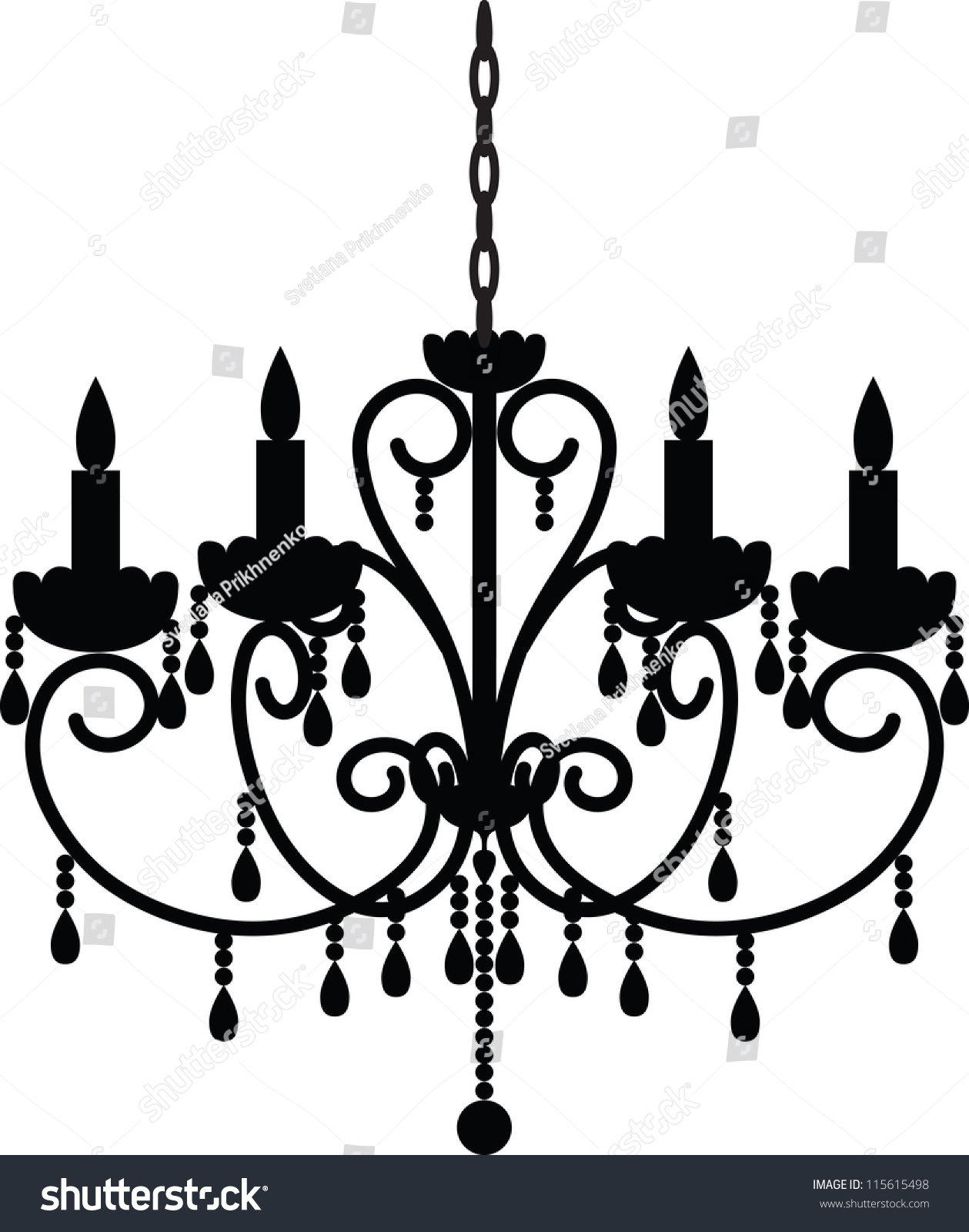 Silhouette Antique Chandelier Stock Vector 115615498 - Shutterstock