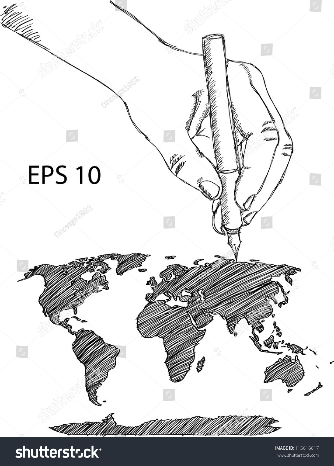 Hand drawing earth globe world map vectores en stock 115616617 hand drawing earth globe with world map detail vector line sketch up illustrator eps 10 gumiabroncs Images