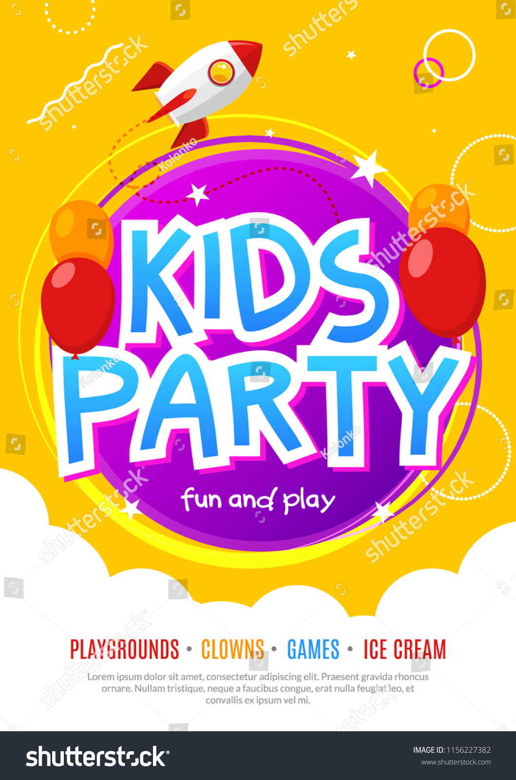kids fun party celebration flyer design stock vector royalty free