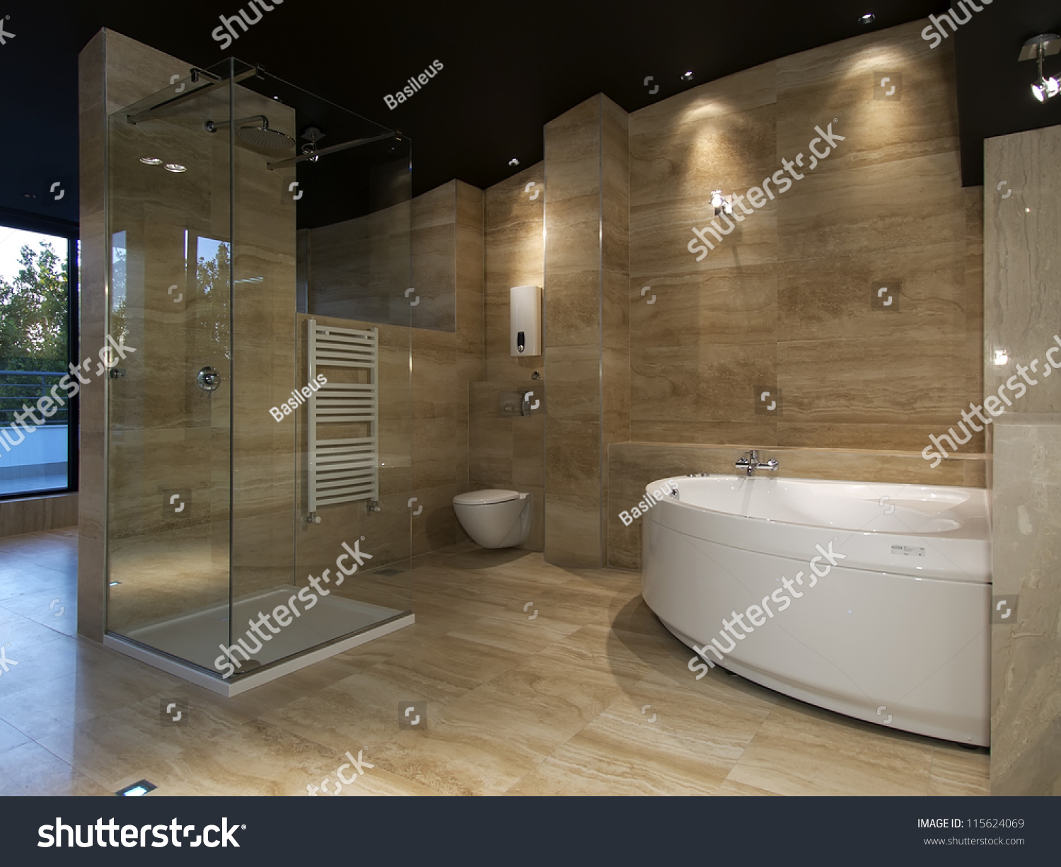 Modern house bathroom interior stock photo 115624069 for Bathroom interior images