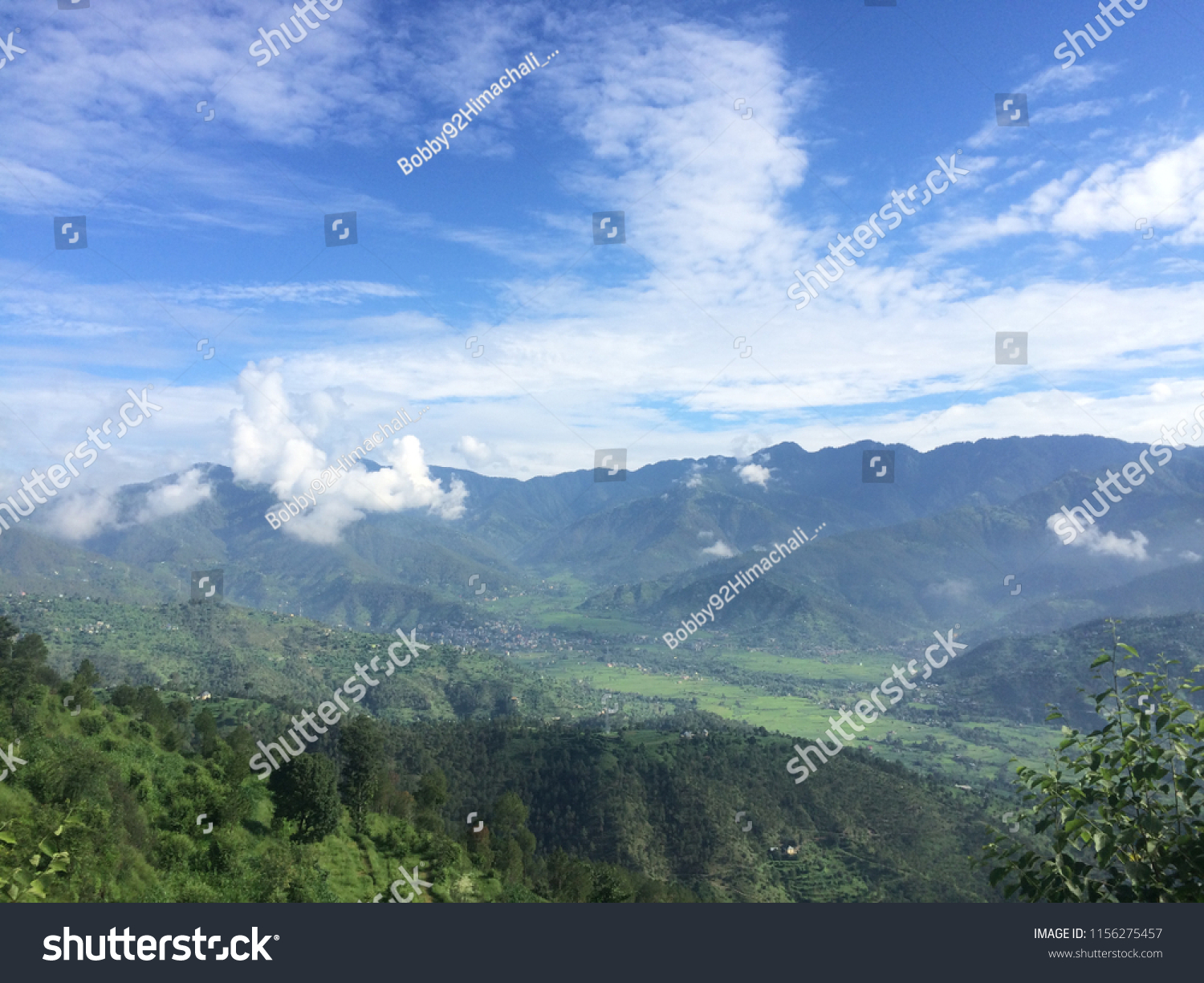 stock photo karsog valley beautiful view beautiful mountains clouds and blue sky desktop and mobile wallpaper 1156275457