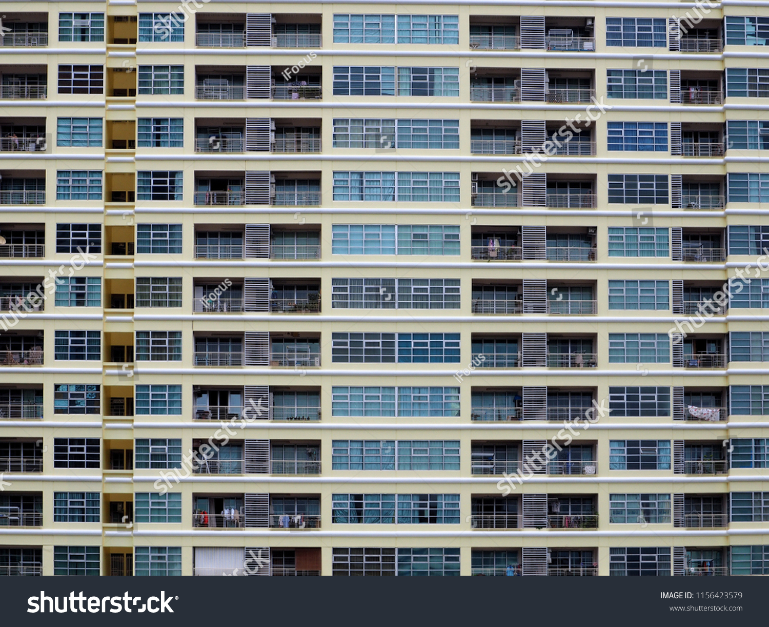 Modern residential building facade with balconies