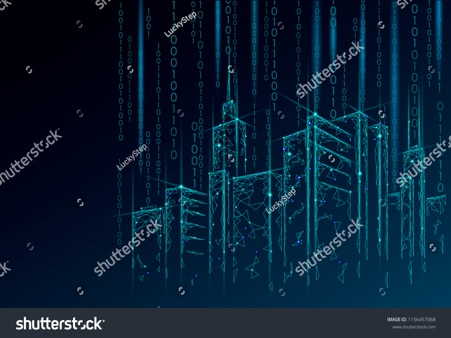 Low Poly Smart City 3 D Wire Stock Vector Royalty Free 1156457068 3d Building Electric Wiring Diagram Mesh Intelligent Automation System Business Concept Binary