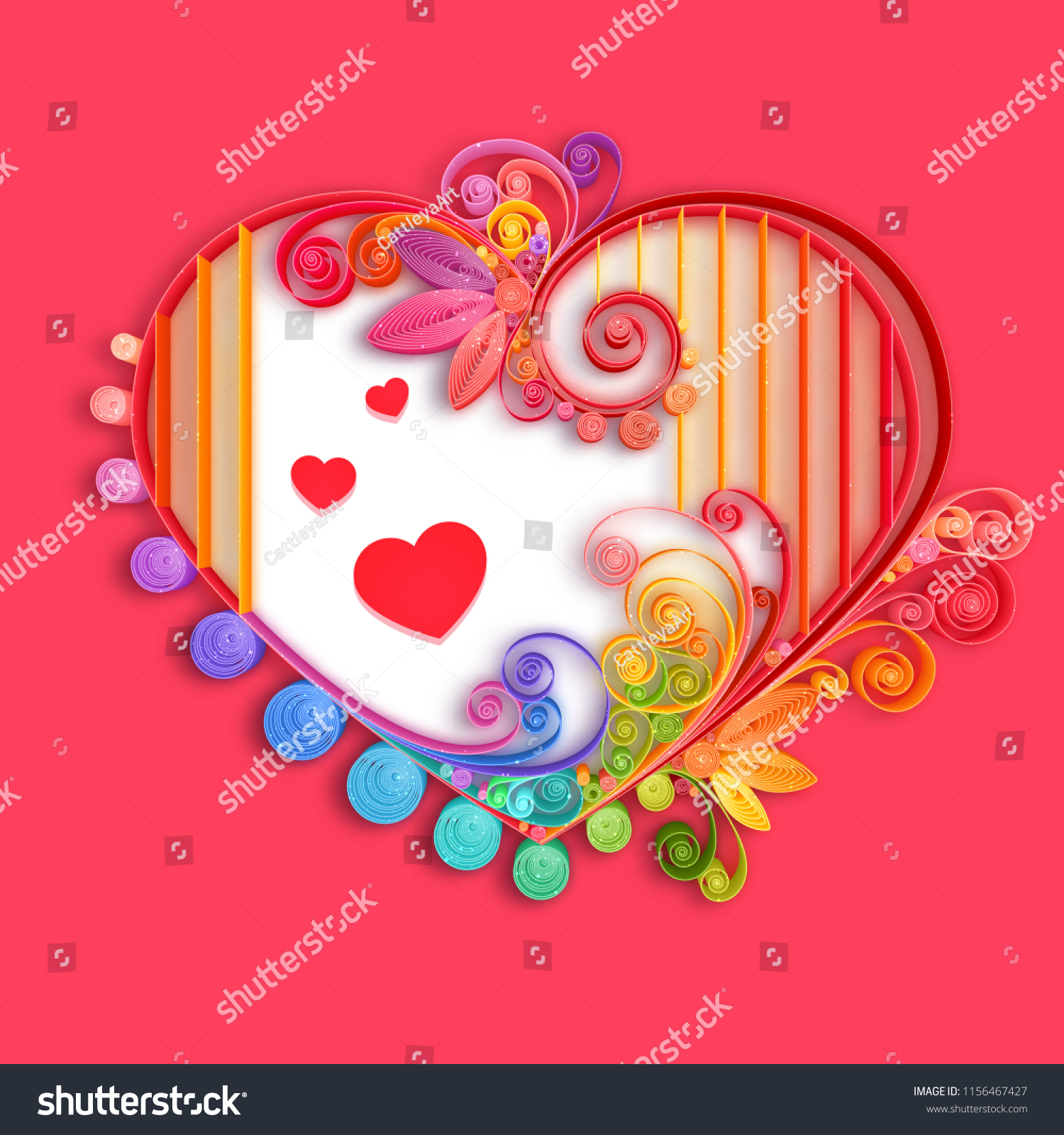 Quilling Paper Heart Vector Illustration Happy Stock Vector Royalty