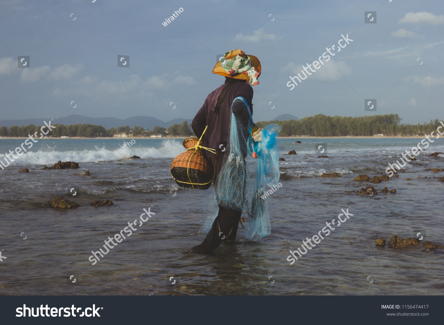 Local Fisherman Holding Cast Net Catch Stock Photo Edit Now 1156474417