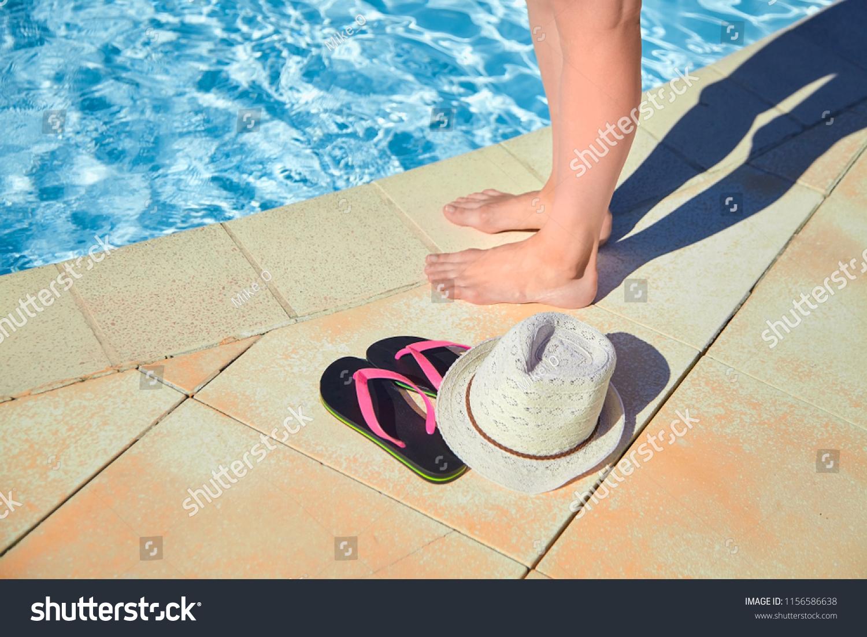 dbbf878c69b3 Female Legs Hat Pink Flip Flops Stock Photo (Edit Now) 1156586638 ...