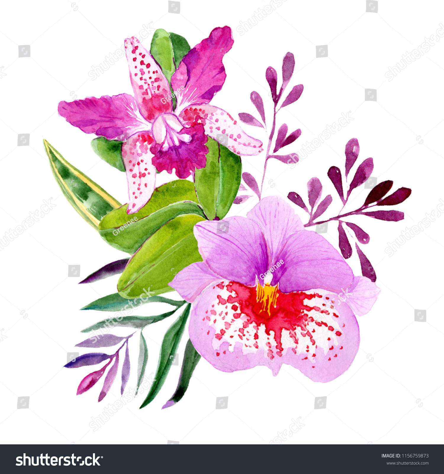 Bouquets leaves flowers watercolor style isolated stock illustration bouquets of leaves and flowers in watercolor style isolated on white background can be used izmirmasajfo