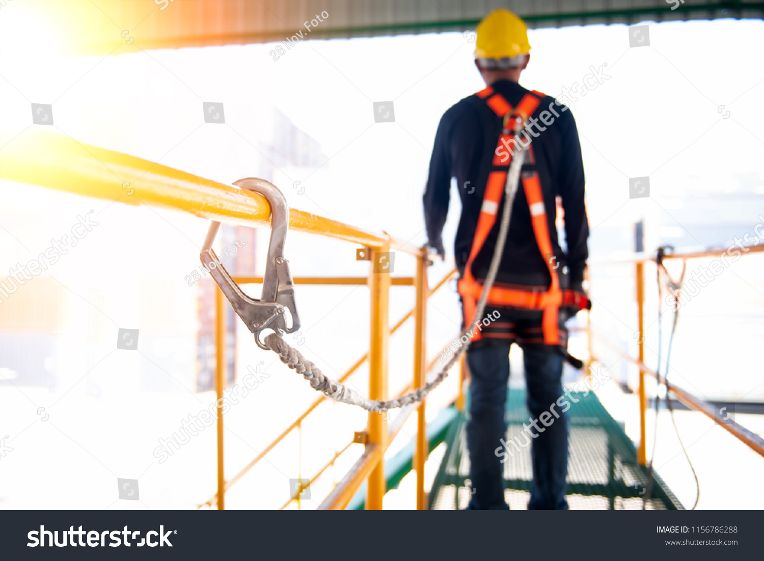 Construction Worker Use Safety Harness Safety Stock Photo Edit Now 1156786288