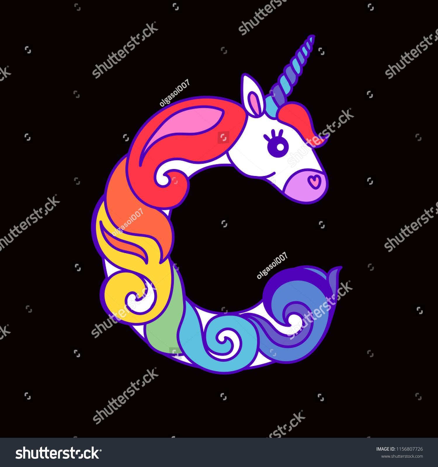 7efaae5b5c Letter C Unicorn Written By Unicorns Stock Vector (Royalty Free ...