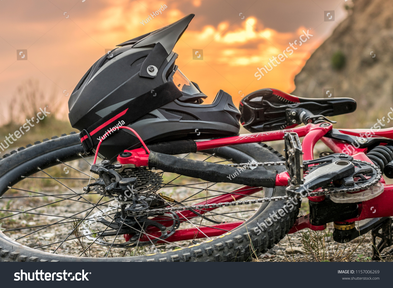 Full Face Downhill Mountain Bike Helmet Sports Recreation Stock Image 1157006269
