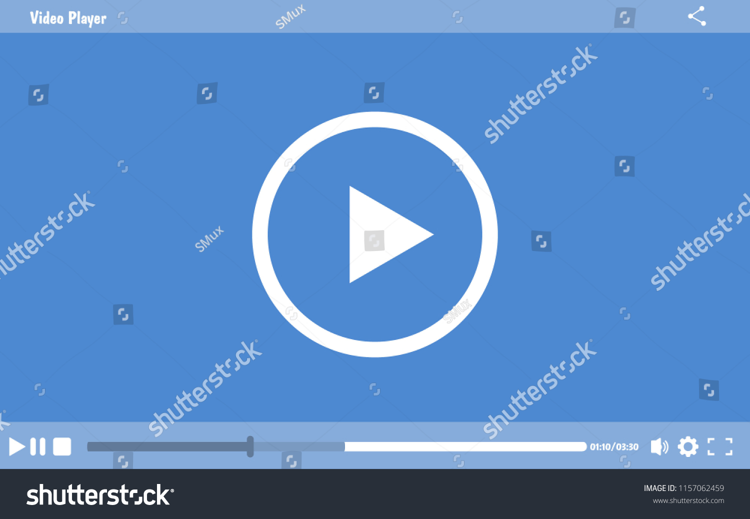 Media Player Design Modern Video Player Stock Vector