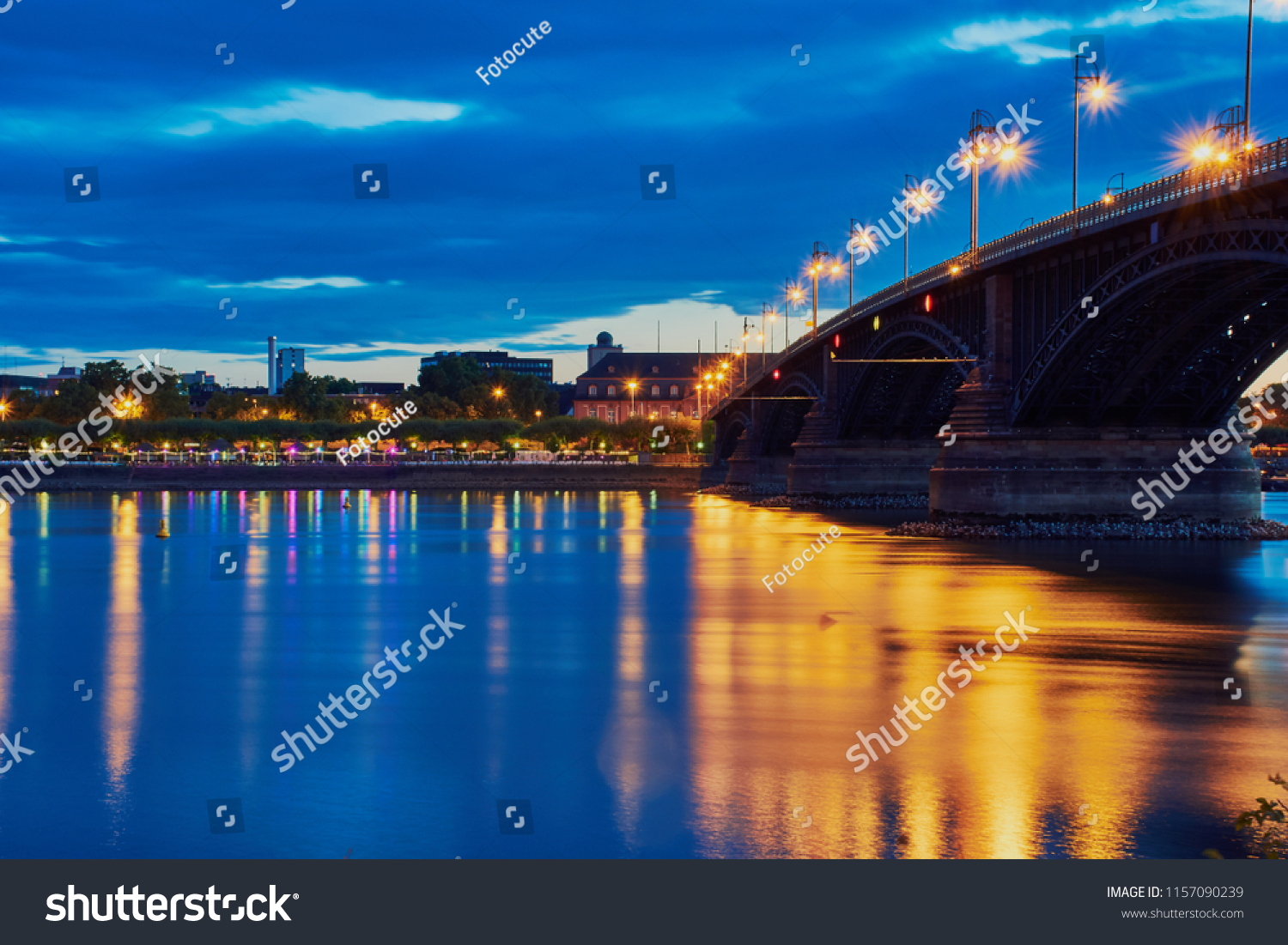 The famous Theodor-Heuss bridge in Mainz, Rhineland-Palatinate, the connection between Mainz and Wiesbaden in the blue hour with water reflection