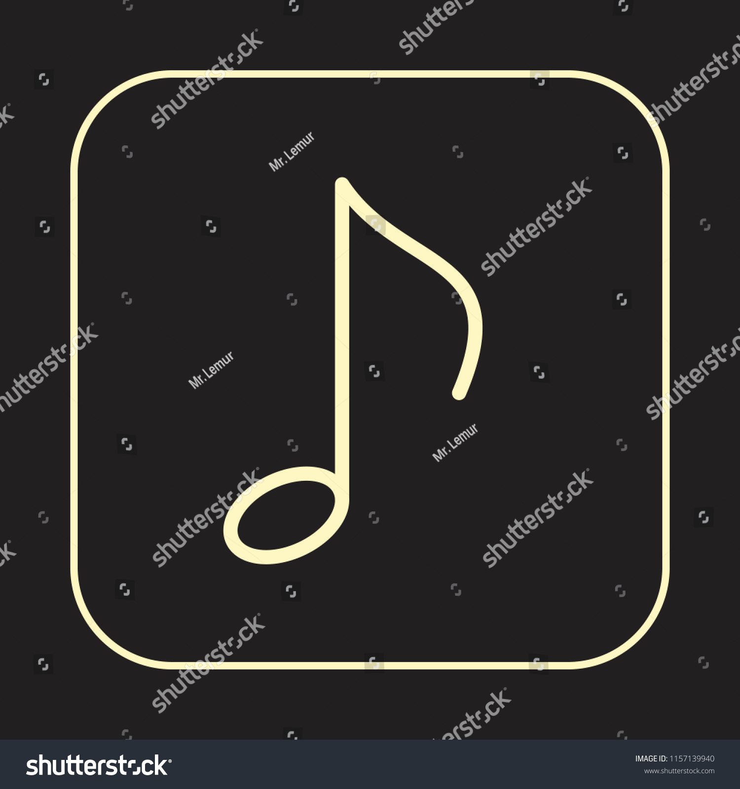 Music Note Icon Quaver Eighth Note Stock Vector Royalty Free