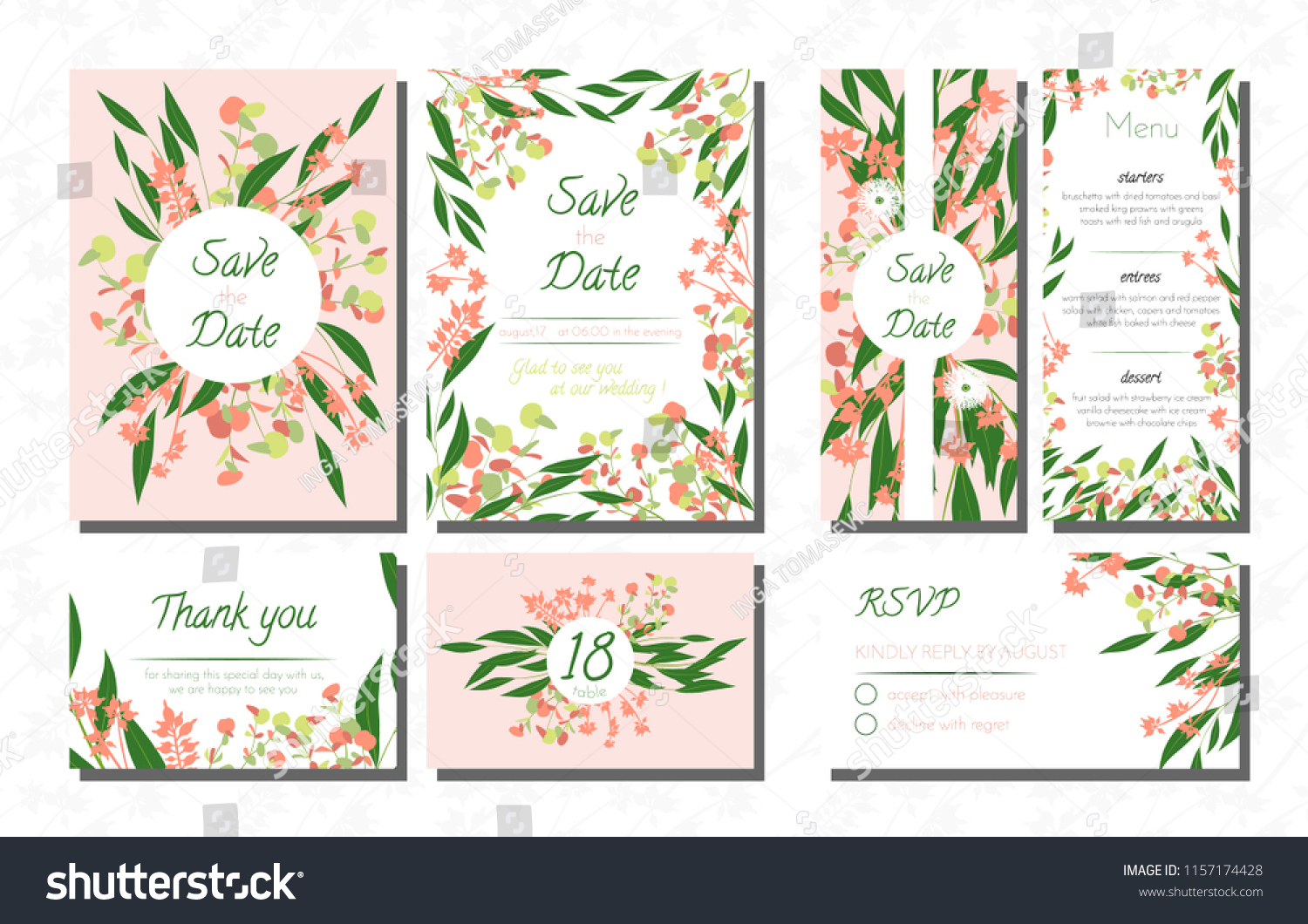 Wedding Card Templates Set With Eucalyptus Vector Decorative Invitation Leaves Floral And Herbs: Eucalytus Garland Wedding Place Card Templates At Websimilar.org