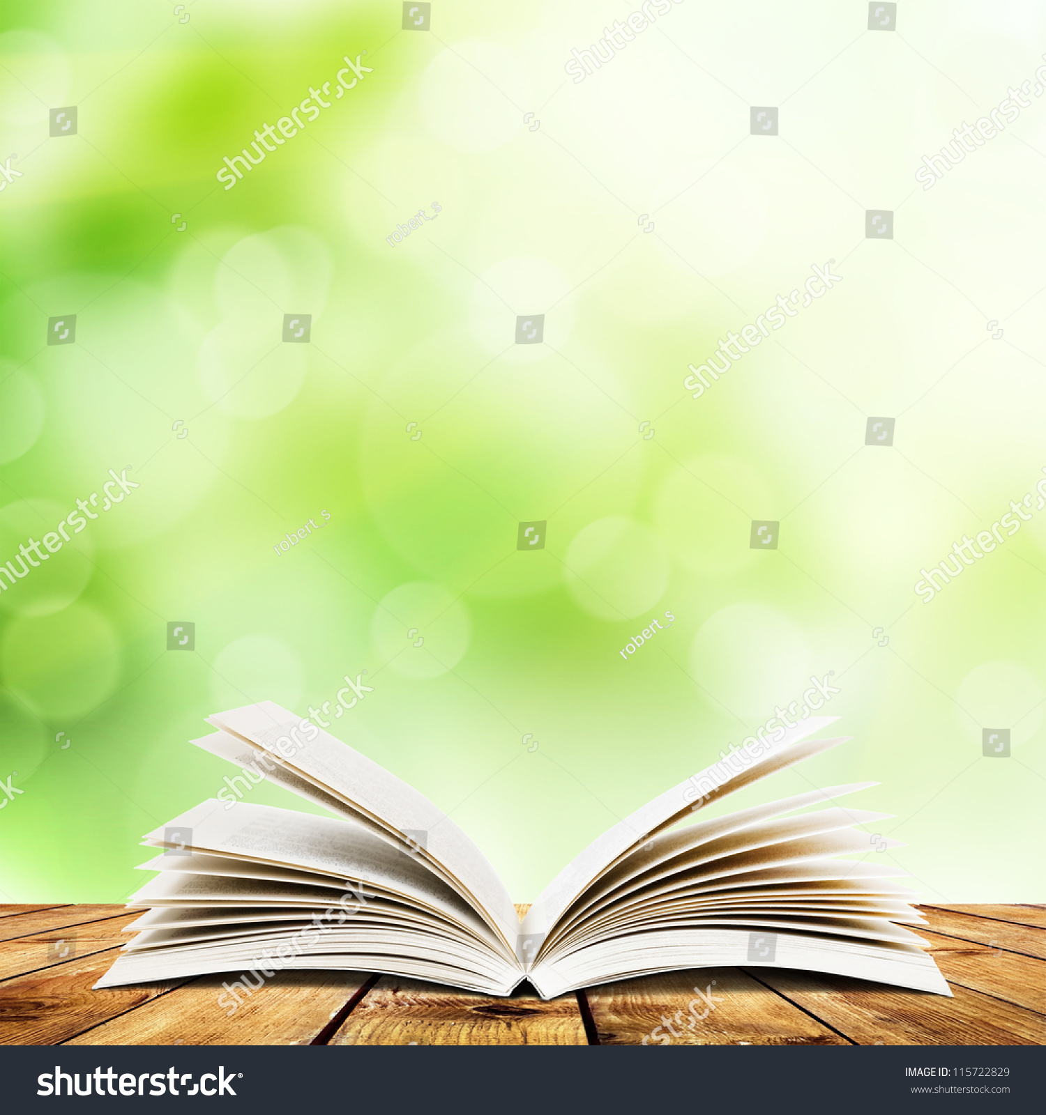 open book on wood planks over stock photo 115722829