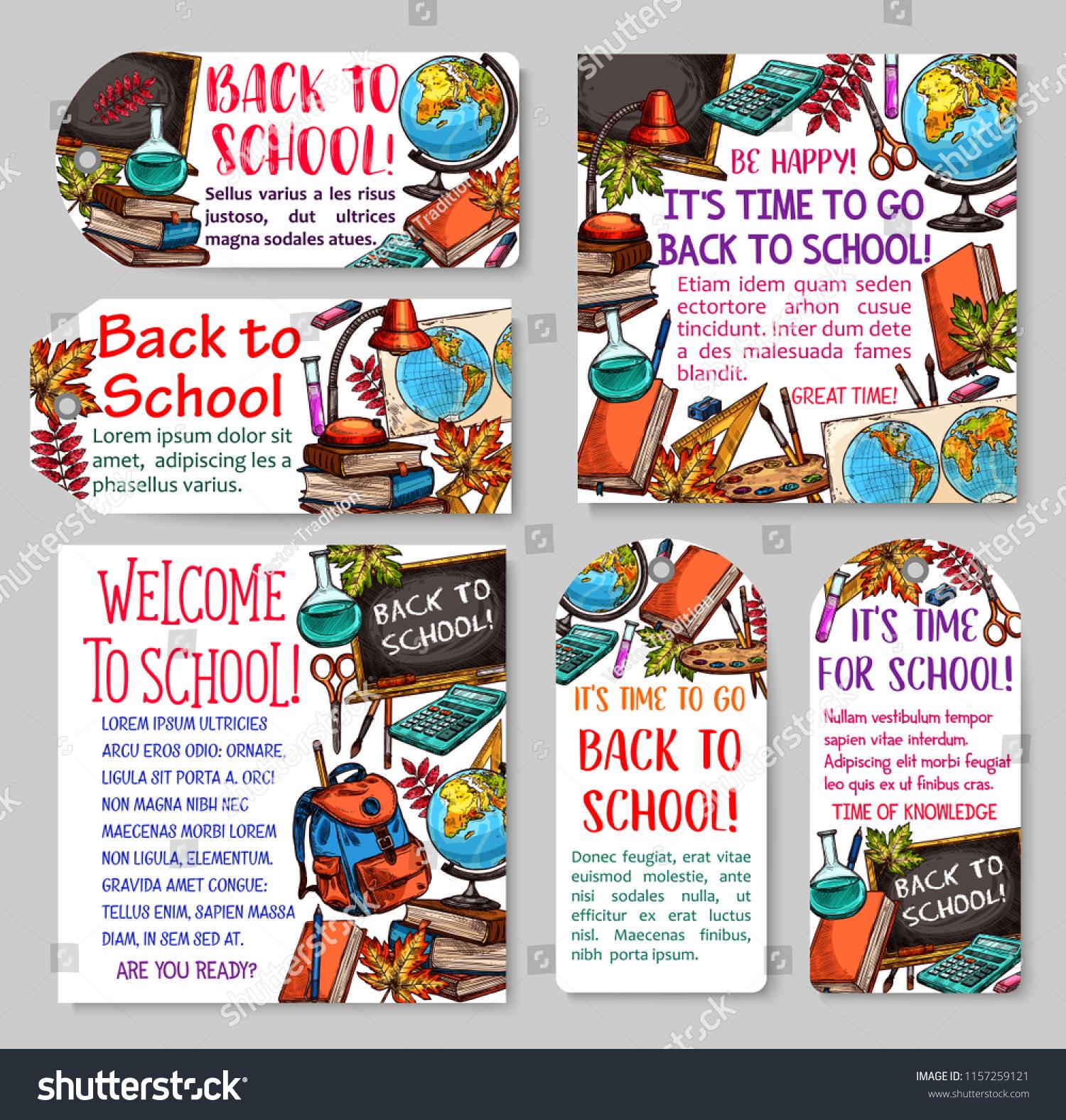 back school tag label set school stock vector (royalty free
