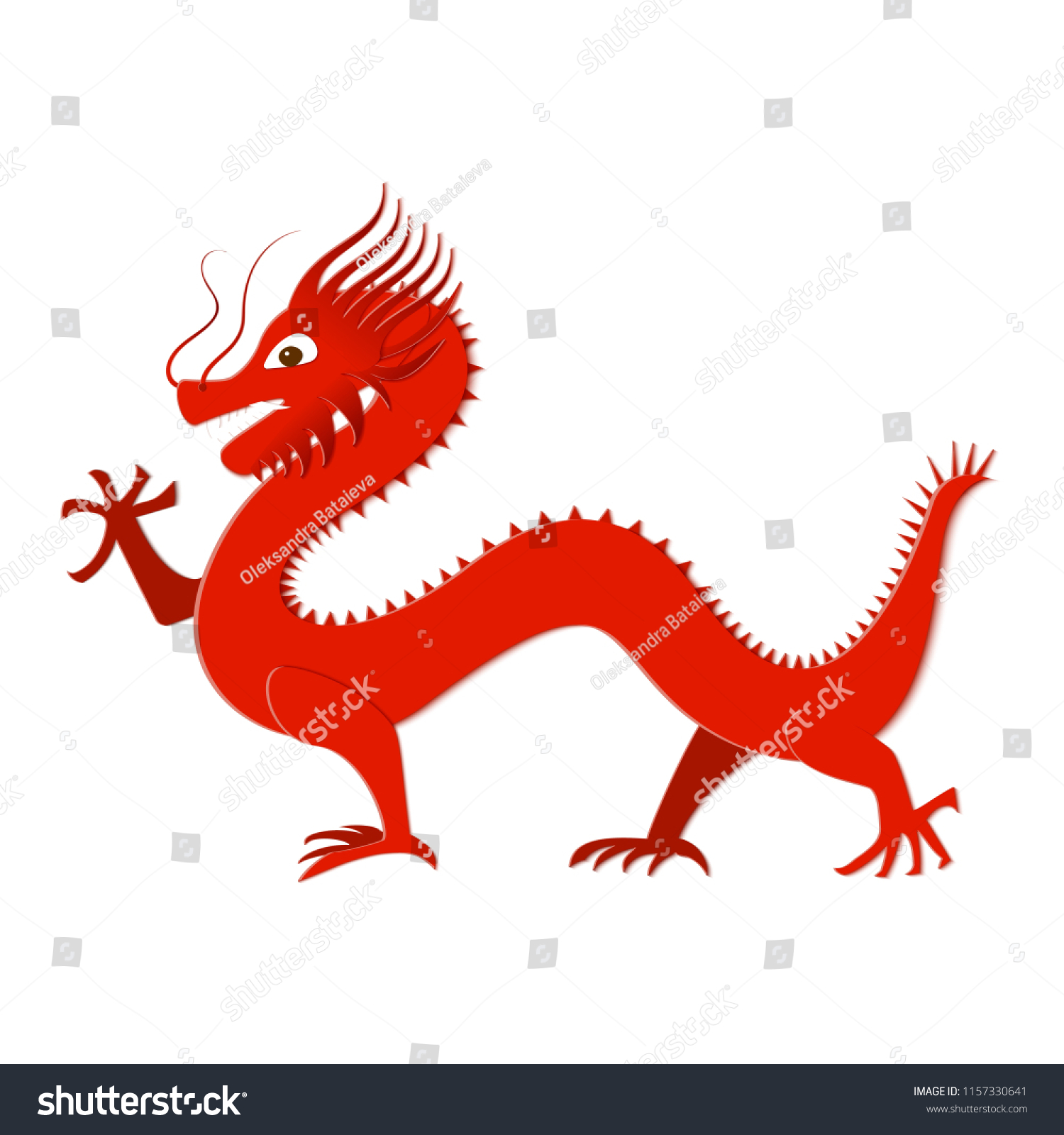 Asian Red Dragon Paper Cut Style Stock Vector 1157330641 Shutterstock