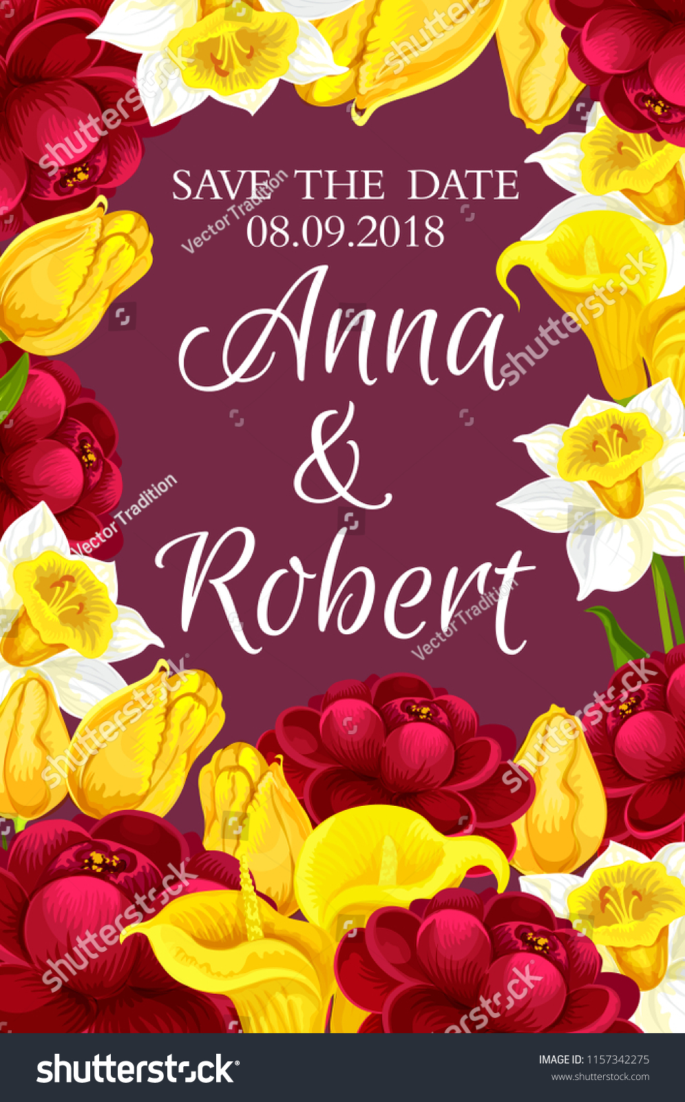 Wedding Invitation Floral Frame Save Date Stock Vector (Royalty Free ...
