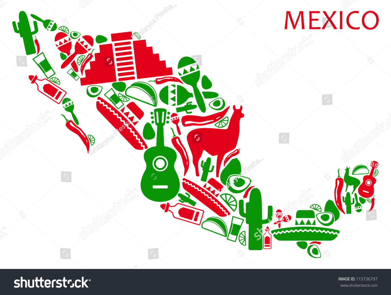 Map Mexico National Symbols Vector 115736797 Shutterstock – Map of Mexio