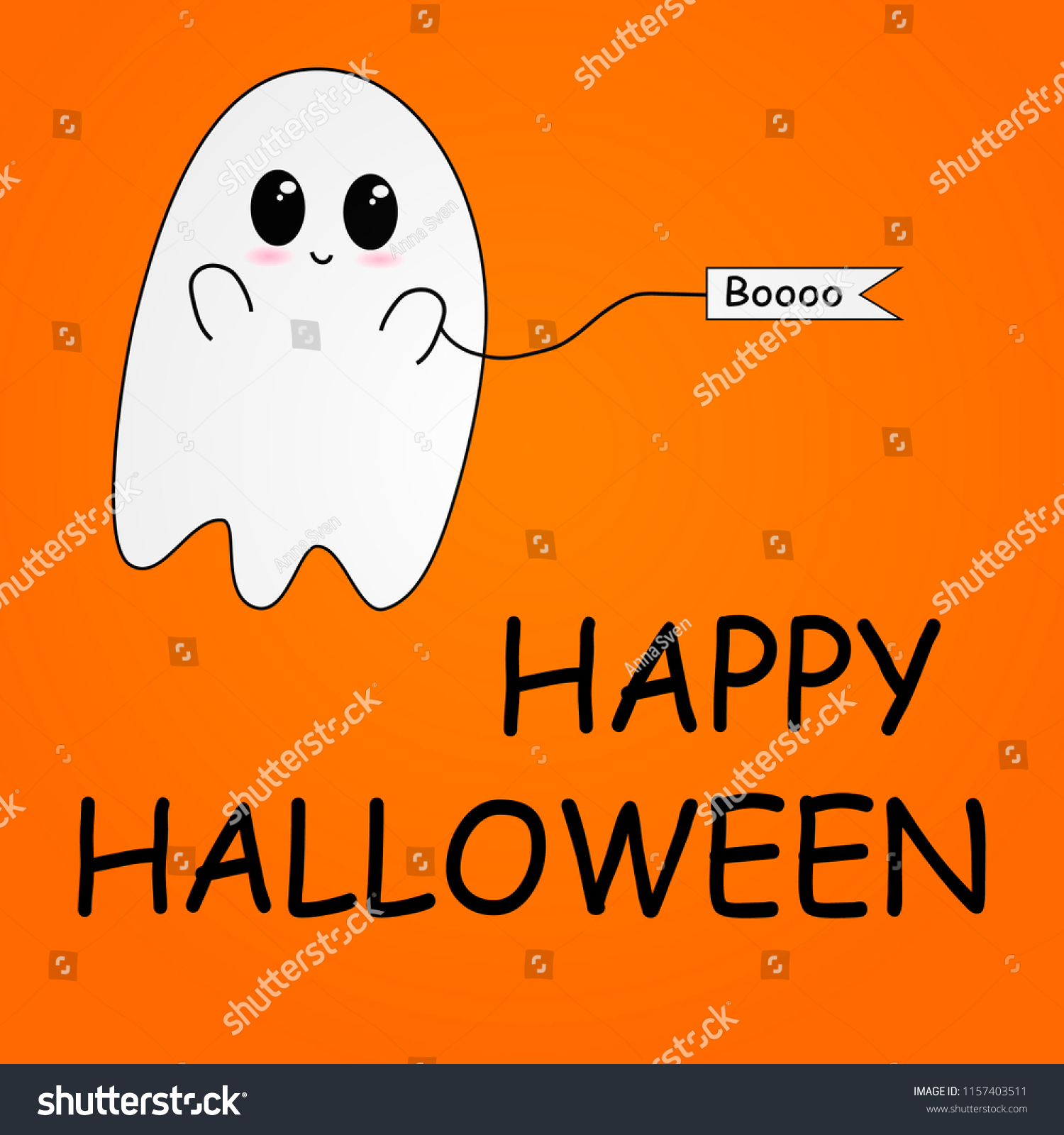 flying ghost wishes happy halloween scary stock vector (royalty free