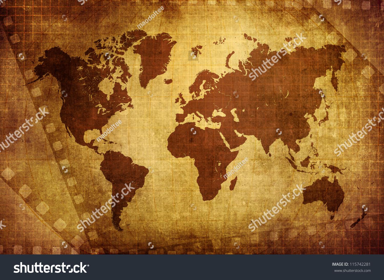 Grunge world map film background stock illustration 115742281 grunge world map with film background gumiabroncs Choice Image