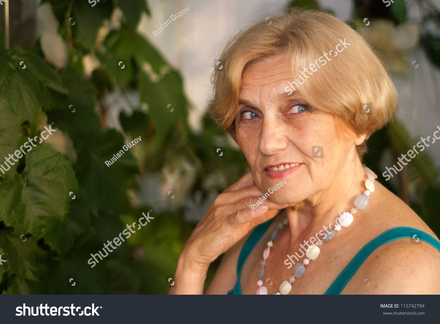 Beautiful Old Woman Short Hair Home Stock Photo Edit Now 115742794