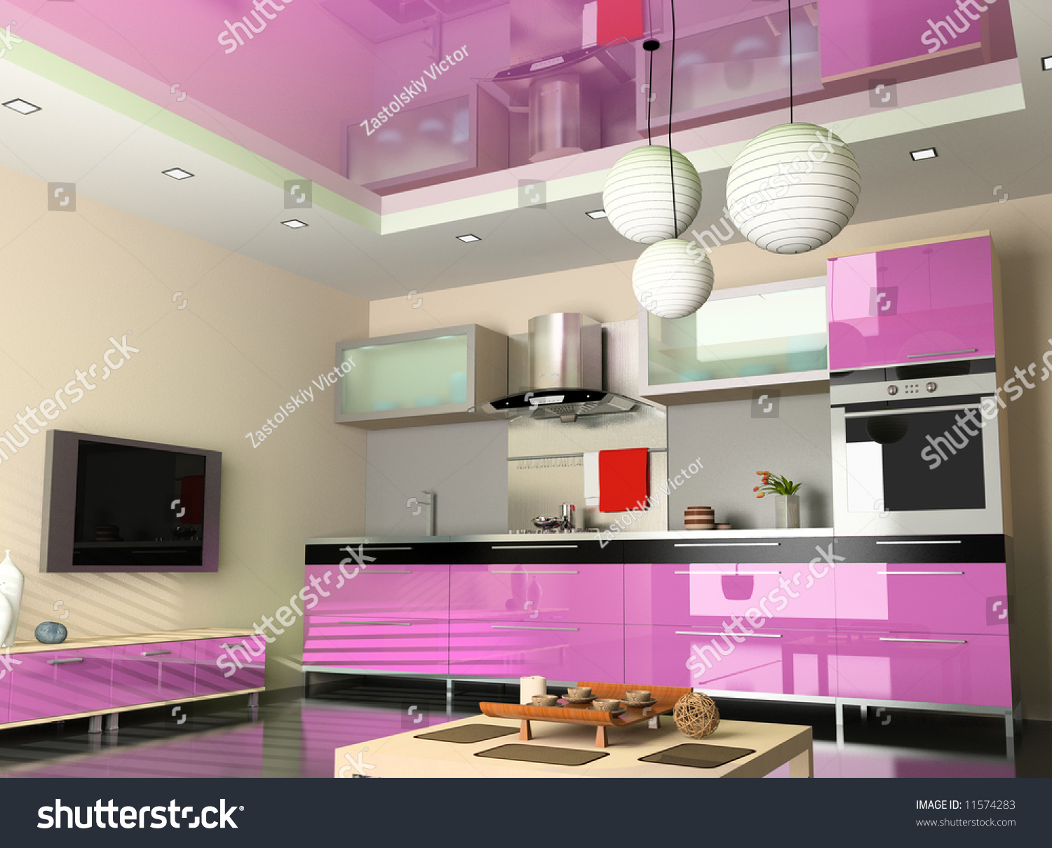 The Modern Kitchen Interior Design 3d Rendering