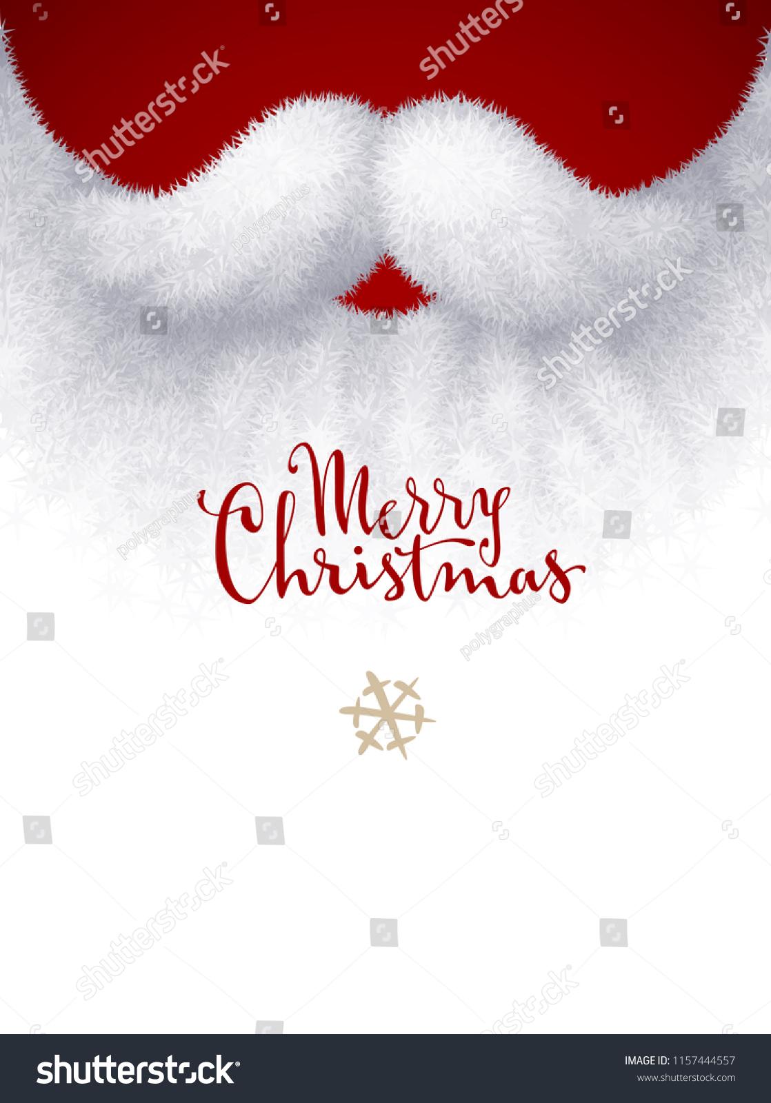 Closeup White Santa Beard Merry Christmas Stock Vector Royalty Free 1157444557