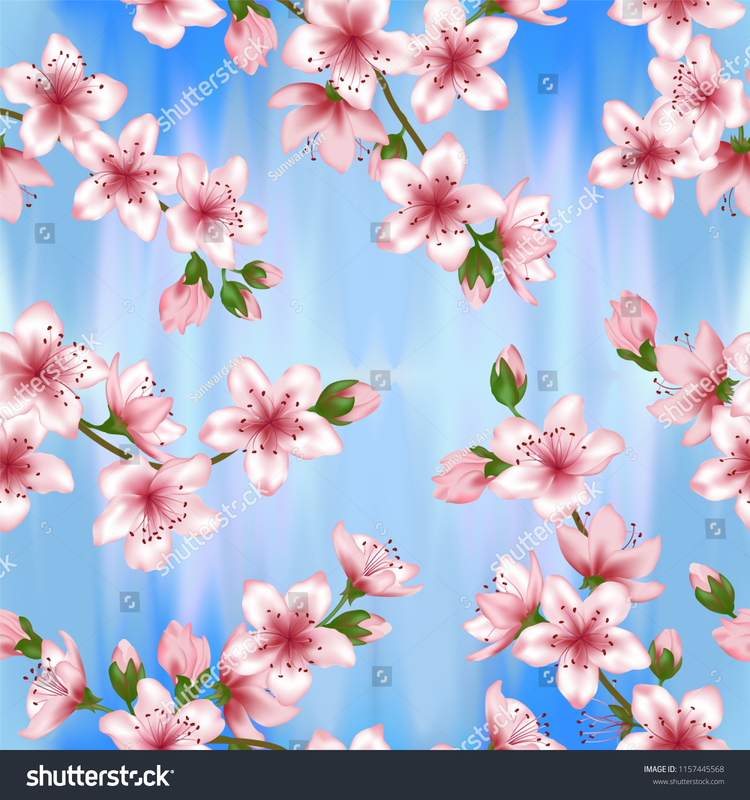 Japanese Cherry Blossom Sakura Branches Vector Seamless Pattern