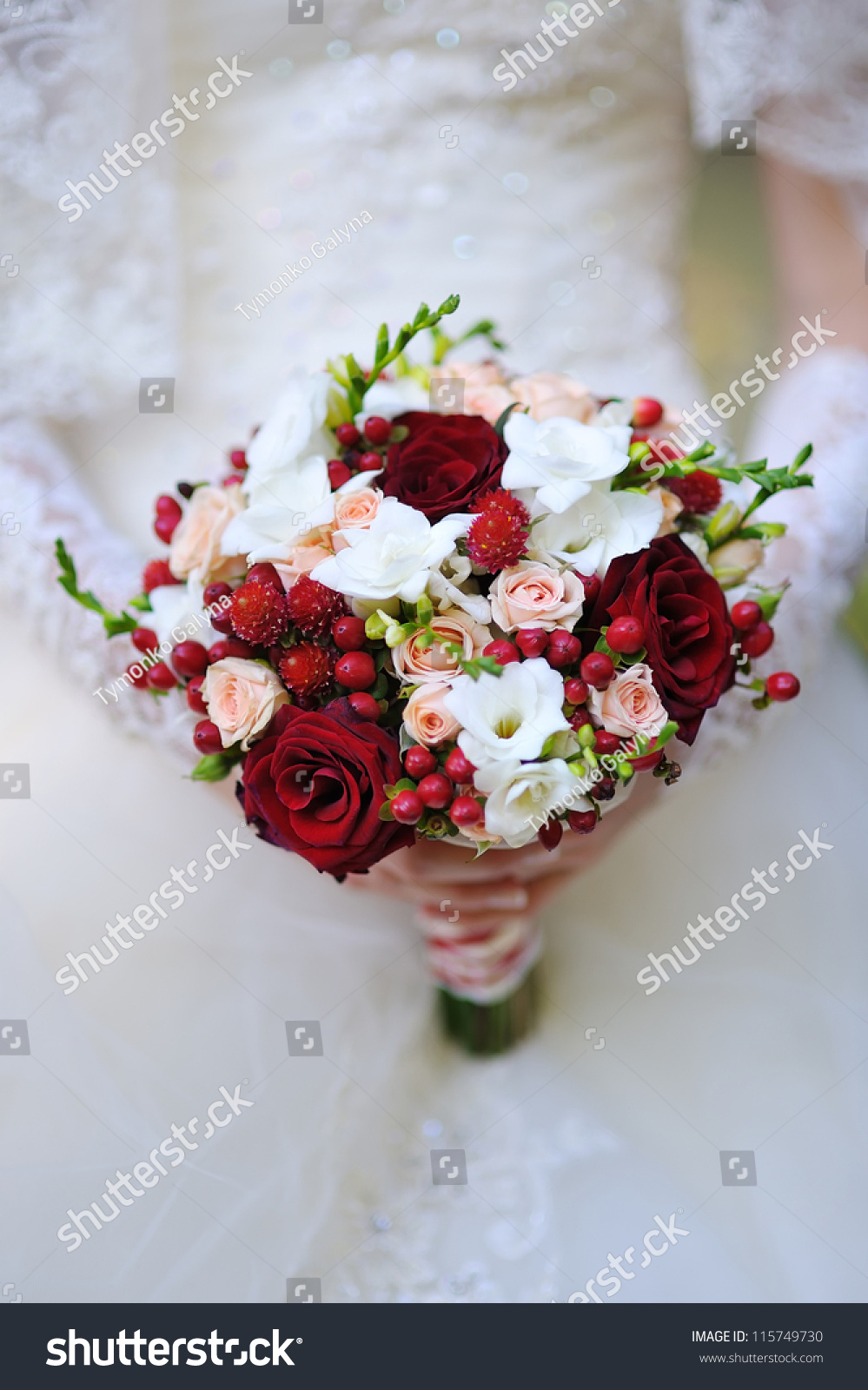 Wedding Bouquet Red White Flowers Stock Photo Royalty Free