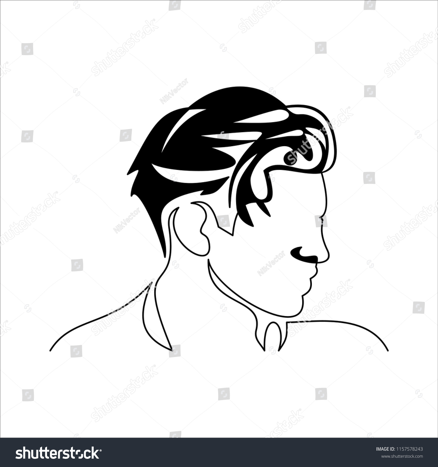 Line Drawing Man Portrait Hairstyle Fashionable Stock Vector