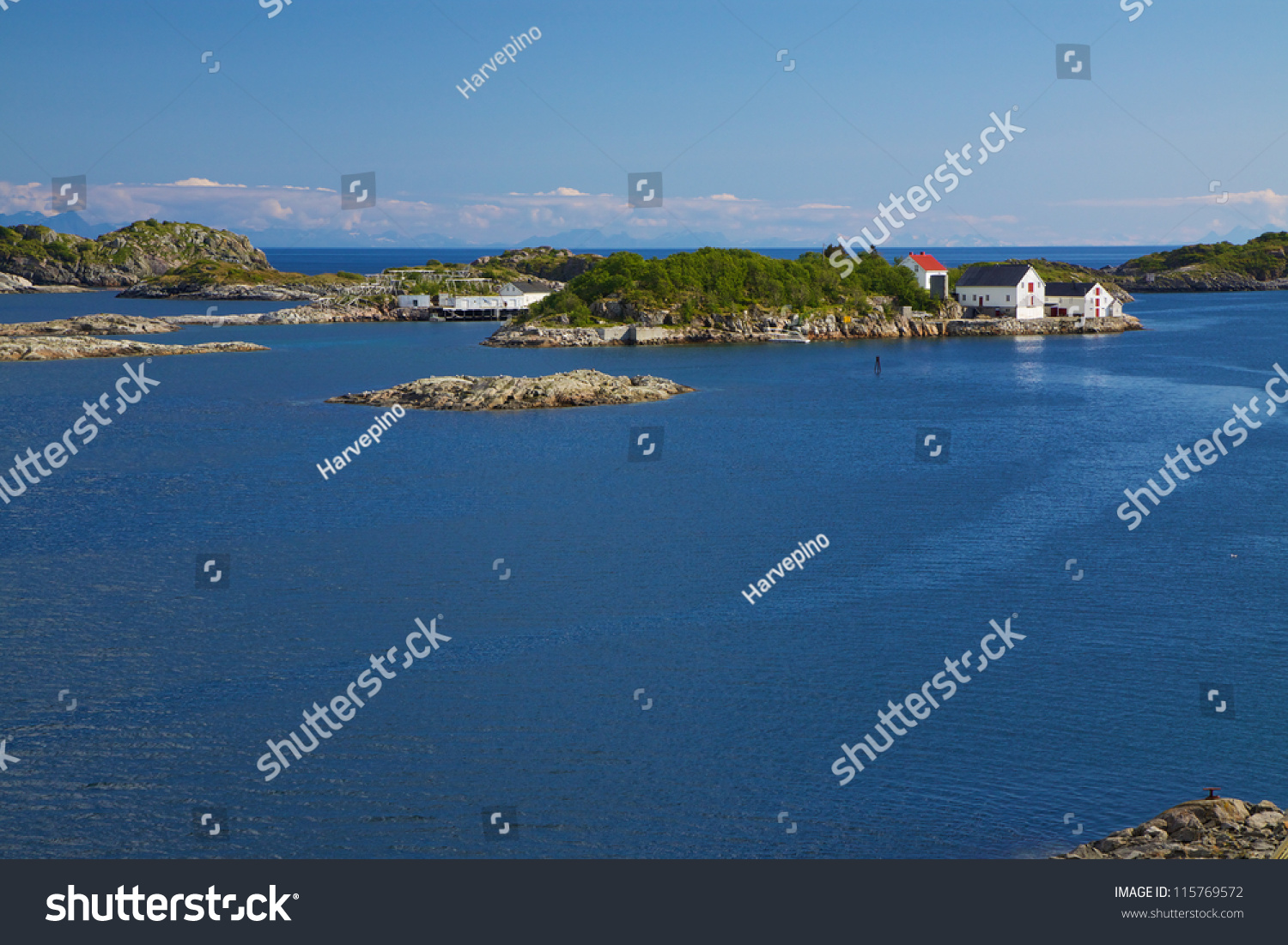 Picturesque small rocky islets on norwegian stock photo for Where to get a fishing license near me