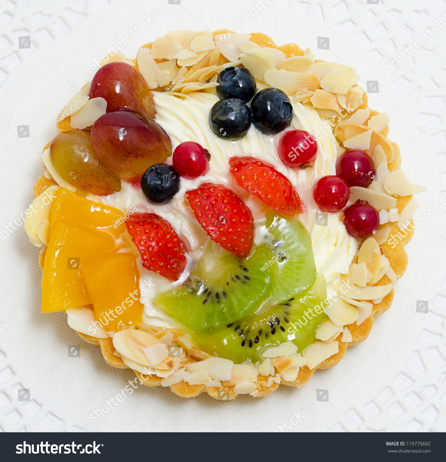 A Fresh Fruit And Berry Cake - A Top View Stock Photo ...