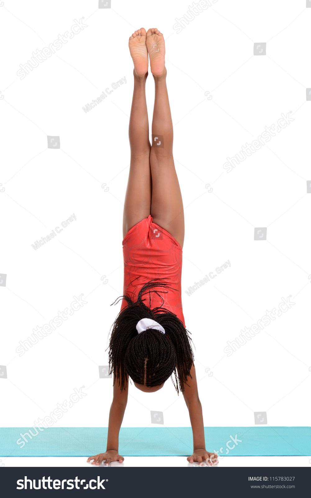 Young Girl Doing Gymnastics Handstand Stock Photo -3358