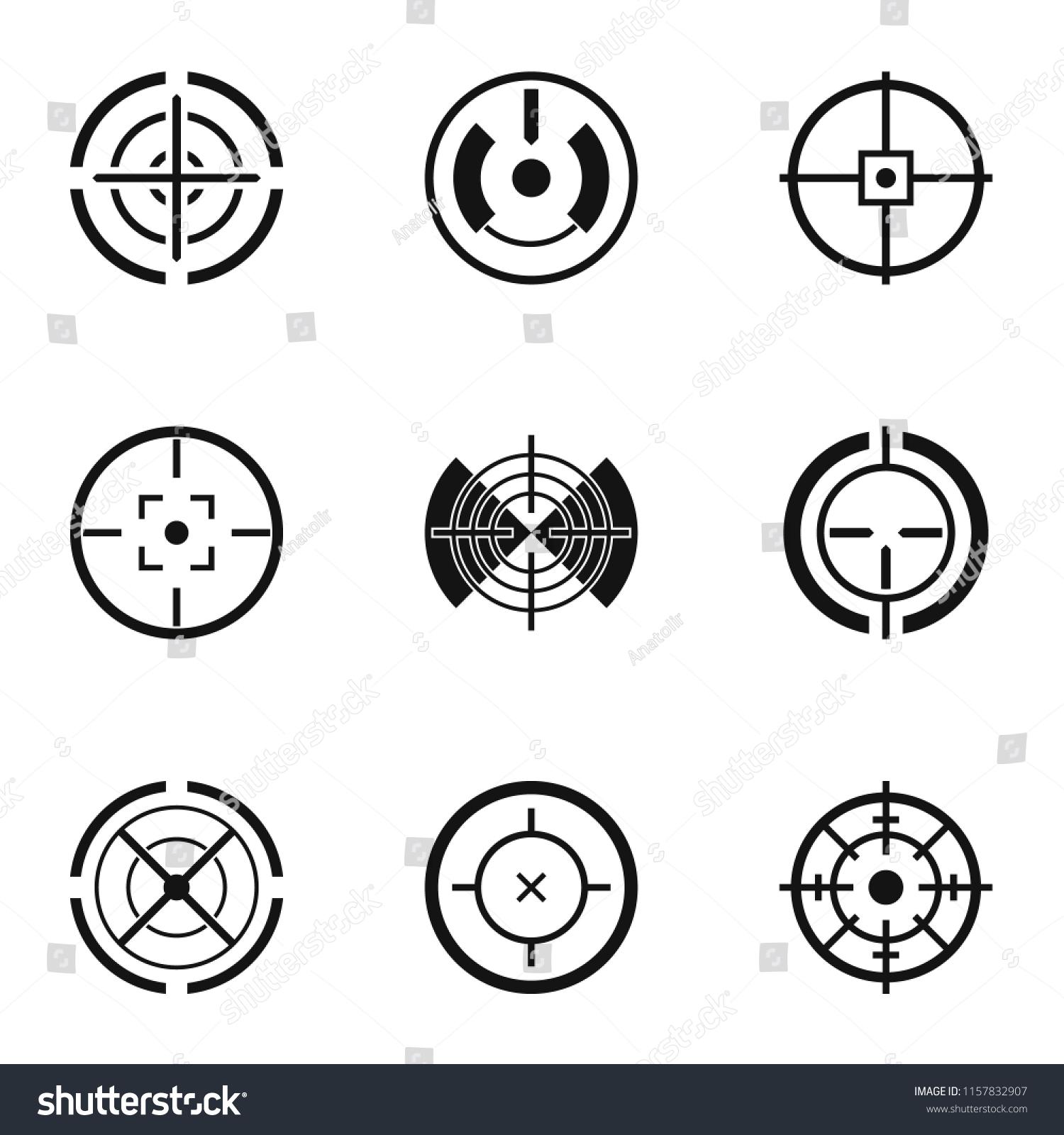 Aim Shooting Icons Set Simple Set Vector de stock (libre de regalías ... 359014419db