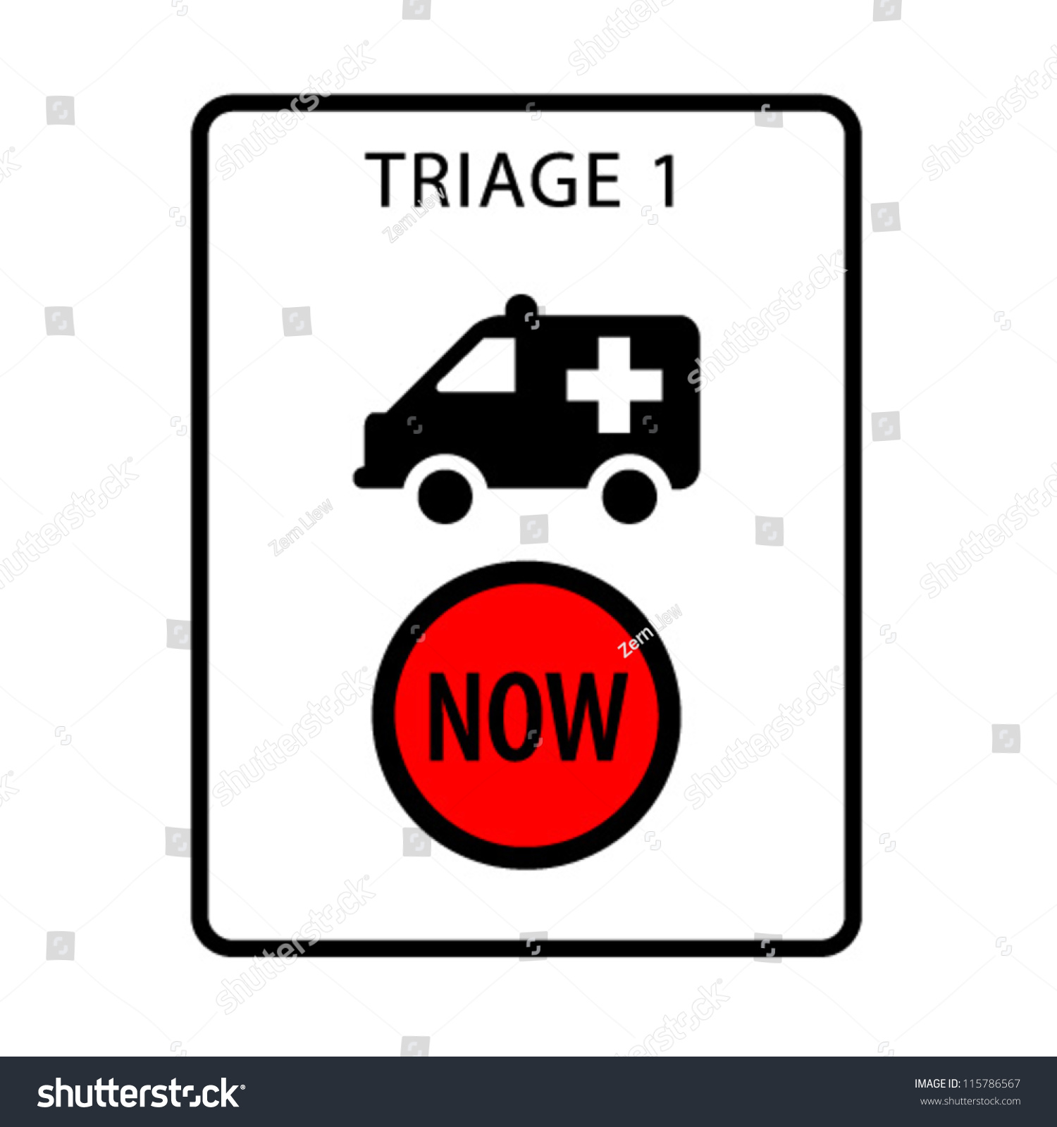 Triage 1 emergency department immediately sign stock vector triage 1 emergency department immediately a sign formatted to the proportions of an a4 buycottarizona Images