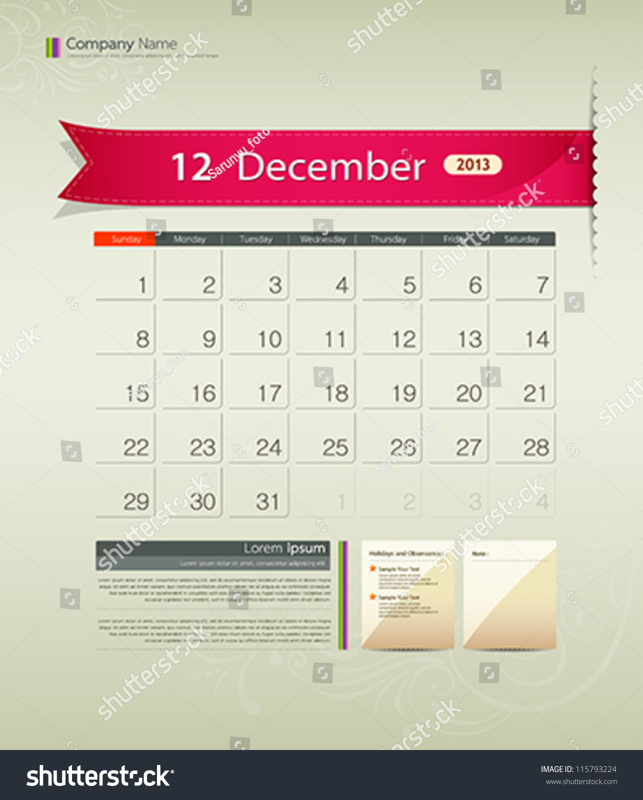 Calendar Ribbon Design : December calendar ribbon design vector illustration