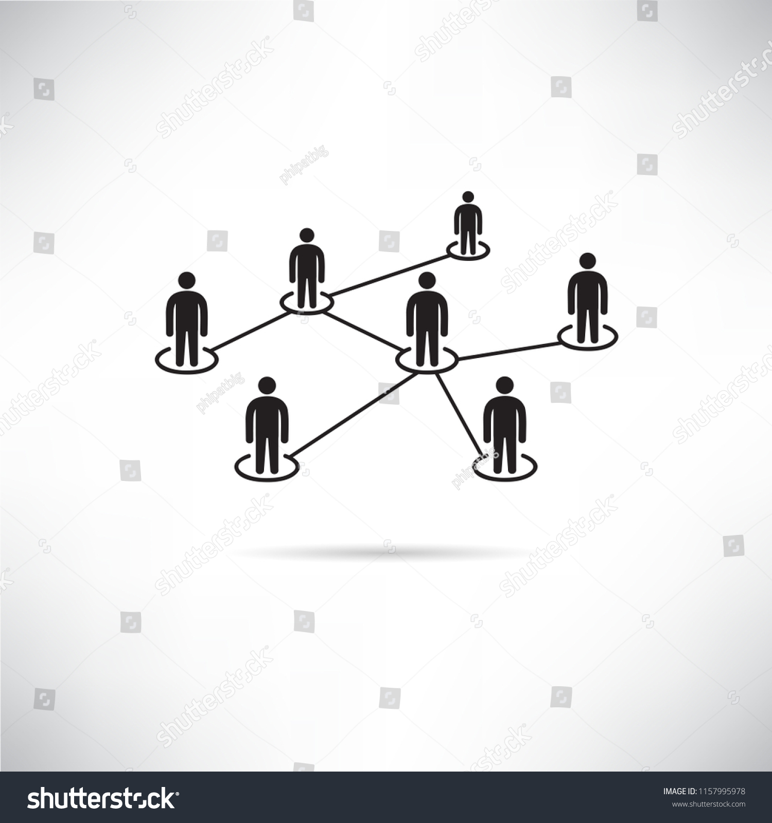 People Network Connection Diagram Icon Stock Vector Royalty
