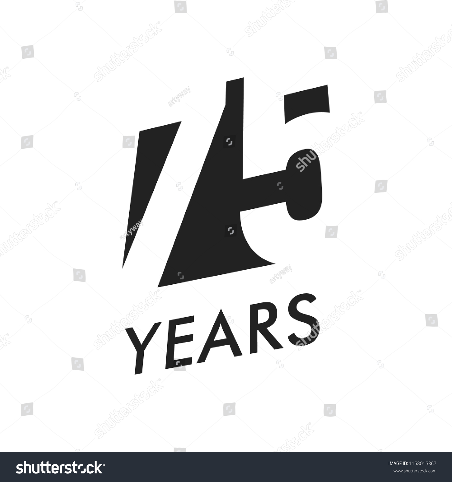 Seventy Five Years Vector Emblem Template Stock Vector Royalty Free