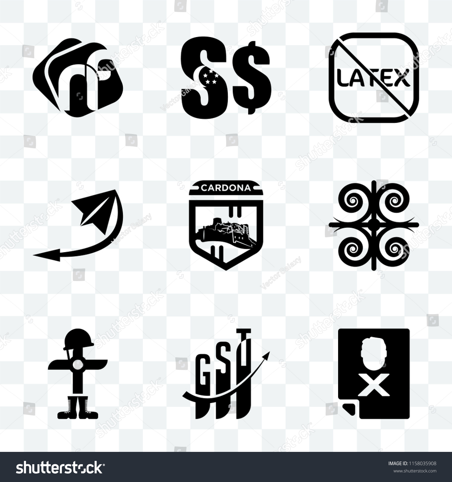 Set 9 Transparent Icons Such Blacklisted Stock Vector Royalty Free