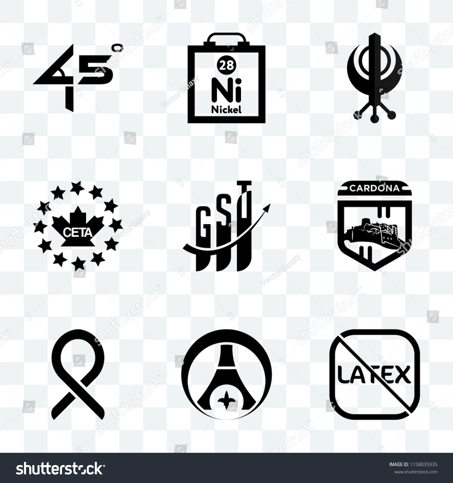 Set 9 Transparent Icons Such Latex Stock Vector Royalty Free