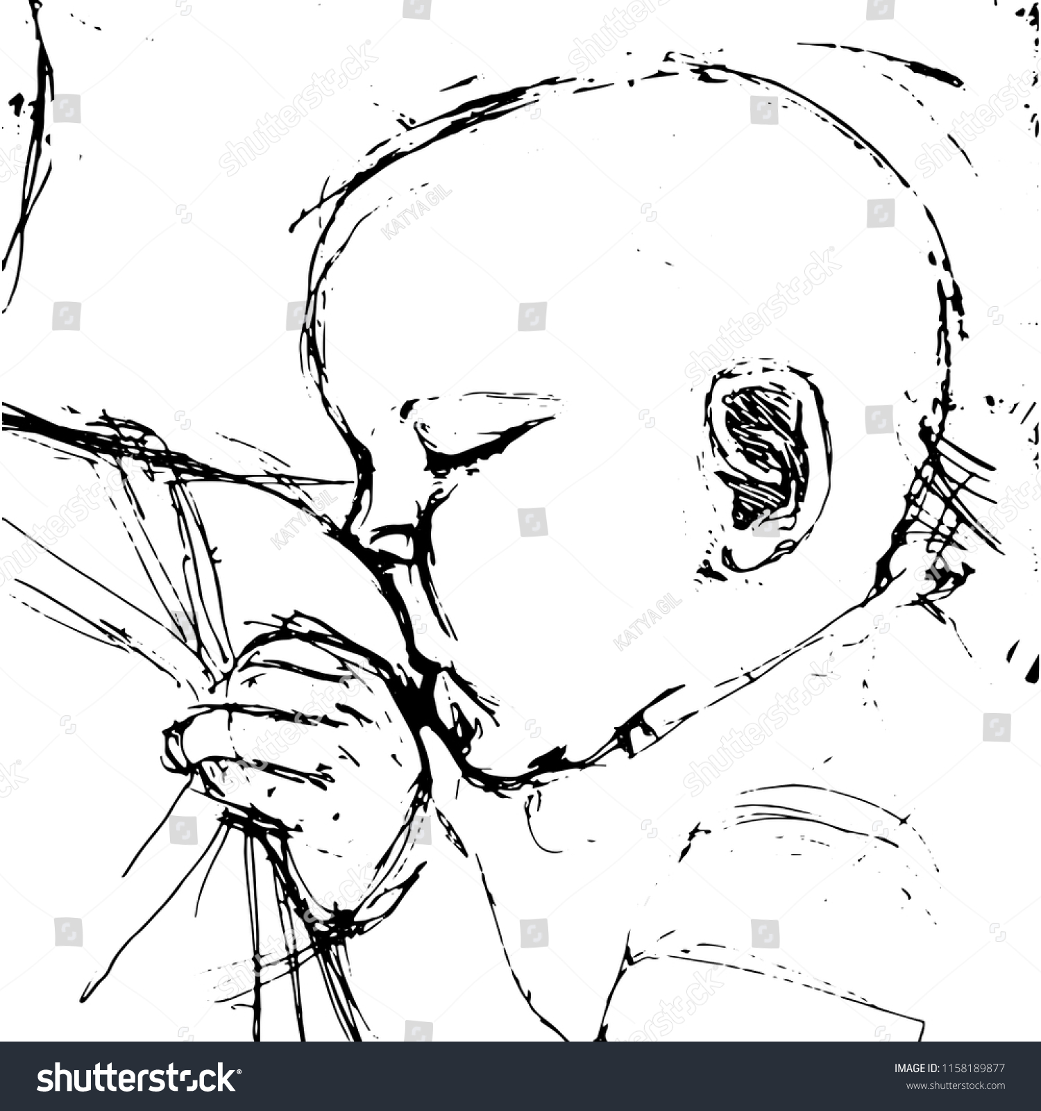 Breast feeding illustration in the style of pencil drawing baby eats milk from moms breast